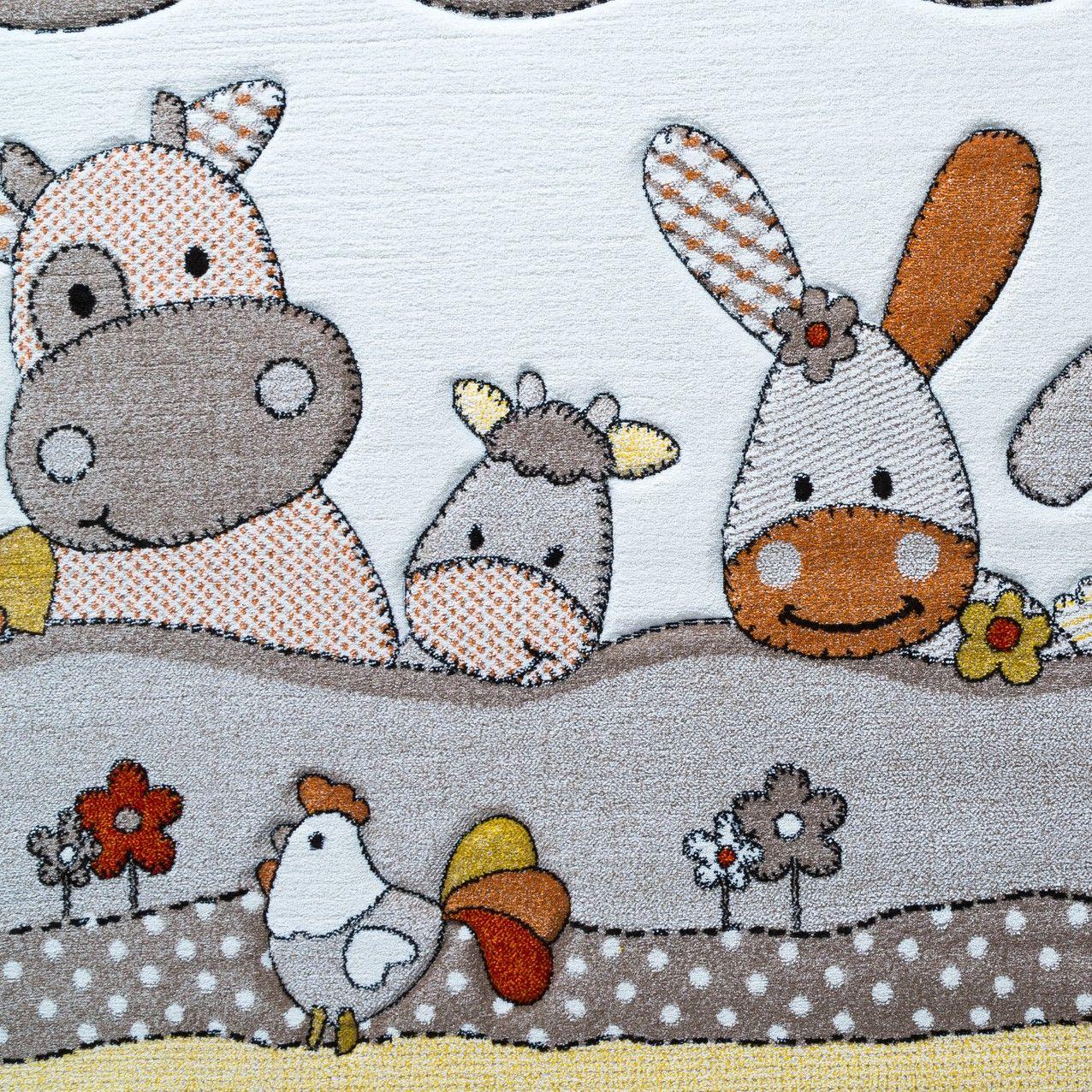 Kinder teppich bauernhof design lustige tiere kinderzimmer for Kinderzimmer teppich tiere
