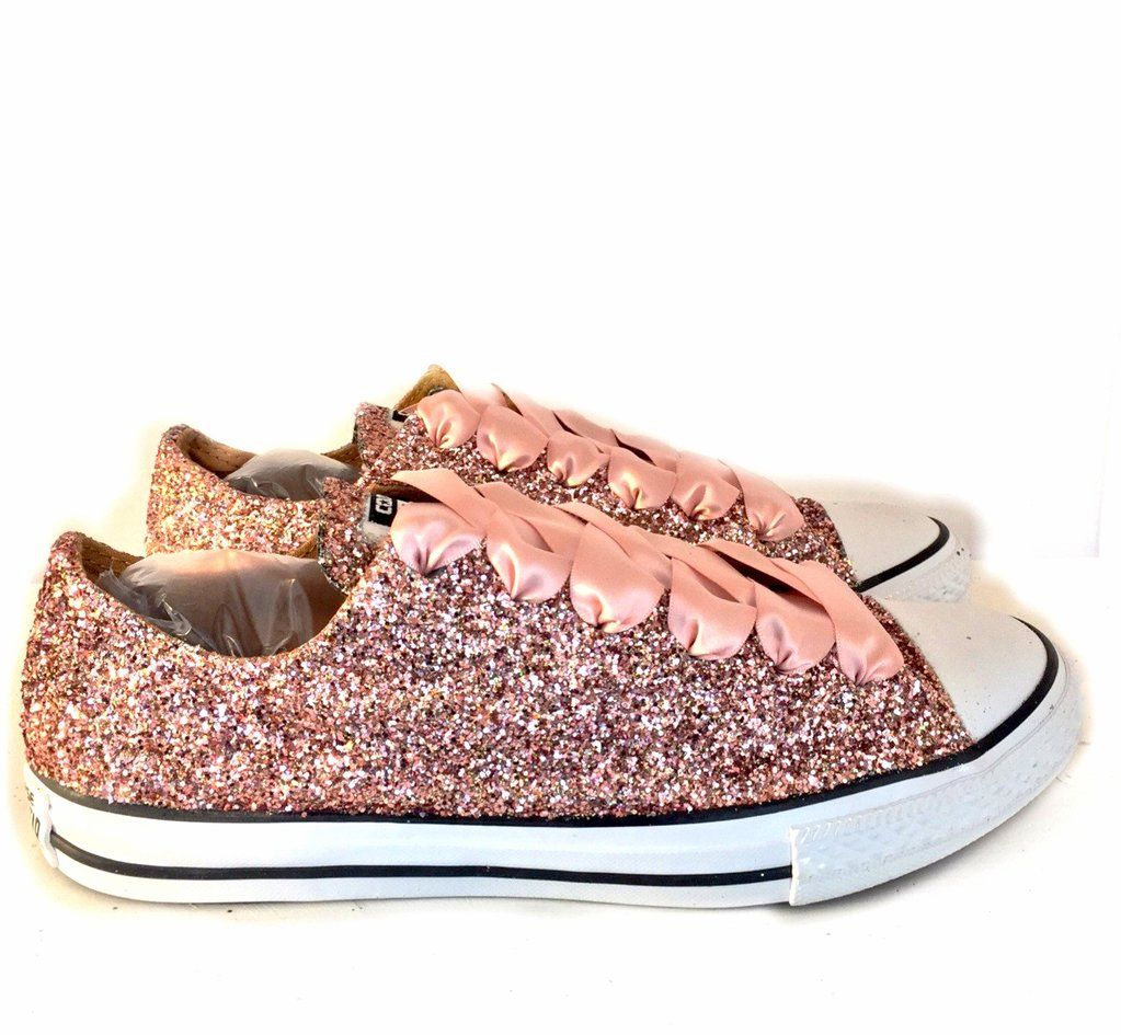 Women s Sparkly Rose Gold Pink Glitter Converse All Stars Bride Wedding Shoes  sneakers e9d46a8405