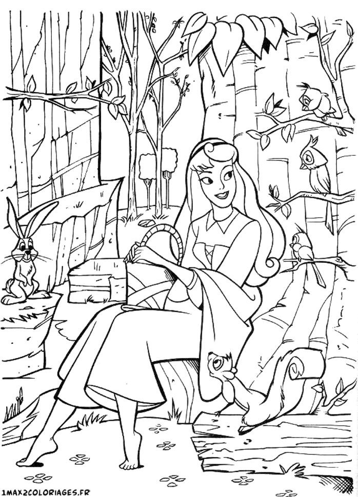 aurore et ses amis les animaux coloriage coloriages princesses