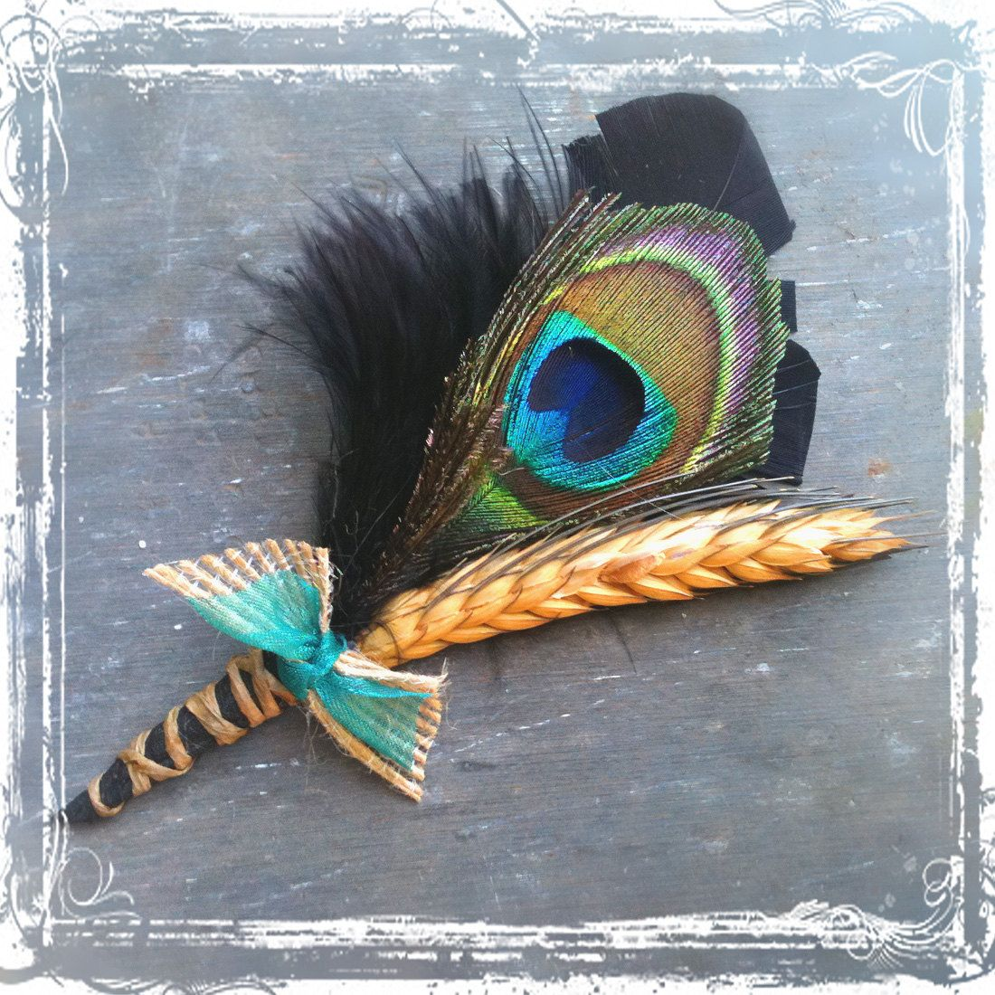 Peacock Wedding Ideas Etsy: Country Peacock Feather Boutonniere