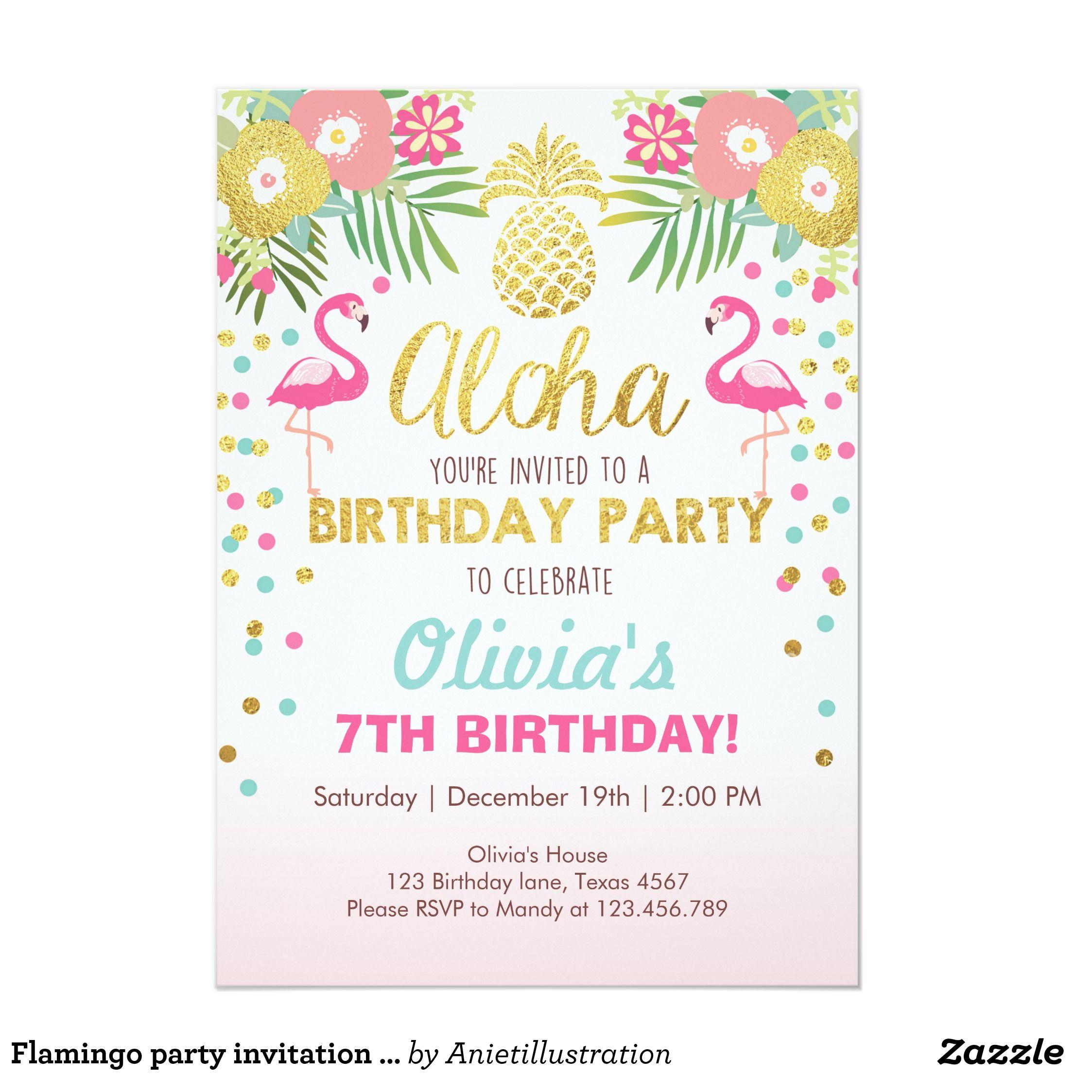 Flamingo party invitation Tropical Birthday luau
