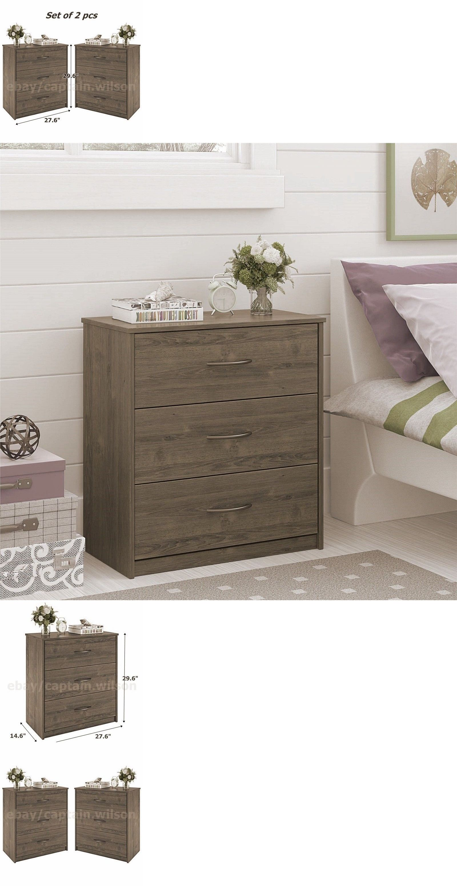 Dressers and chests of drawers 114397 nightstands or dresser set of 2 pcs 3 drawers bedroom light brow rustic oak buy it now only 155 91 on ebay