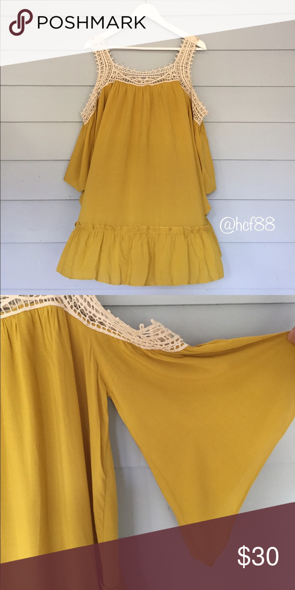 "Cold Shoulder Tunic Tank Cold shoulder tunic tank in mustard yellow with lovely crochet detail. Size L. Measures approx. 32"" from shoulder to hem. Approx. 46"" around chest. Fabric: rayon. Item is new, direct from designer without tags! Tags: beach poolside coverup spring summer party event office work vacation festival Boutique Tops Tunics"