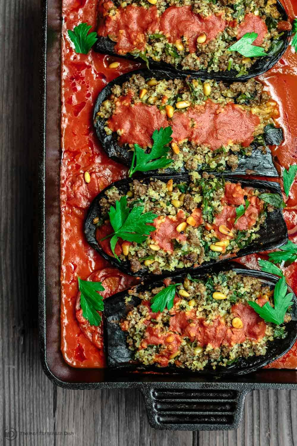 Stuffed Eggplant With Ground Beef The Mediterranean Dish Eggplant Recipes Mediterranean Dishes Mediterranean Recipes