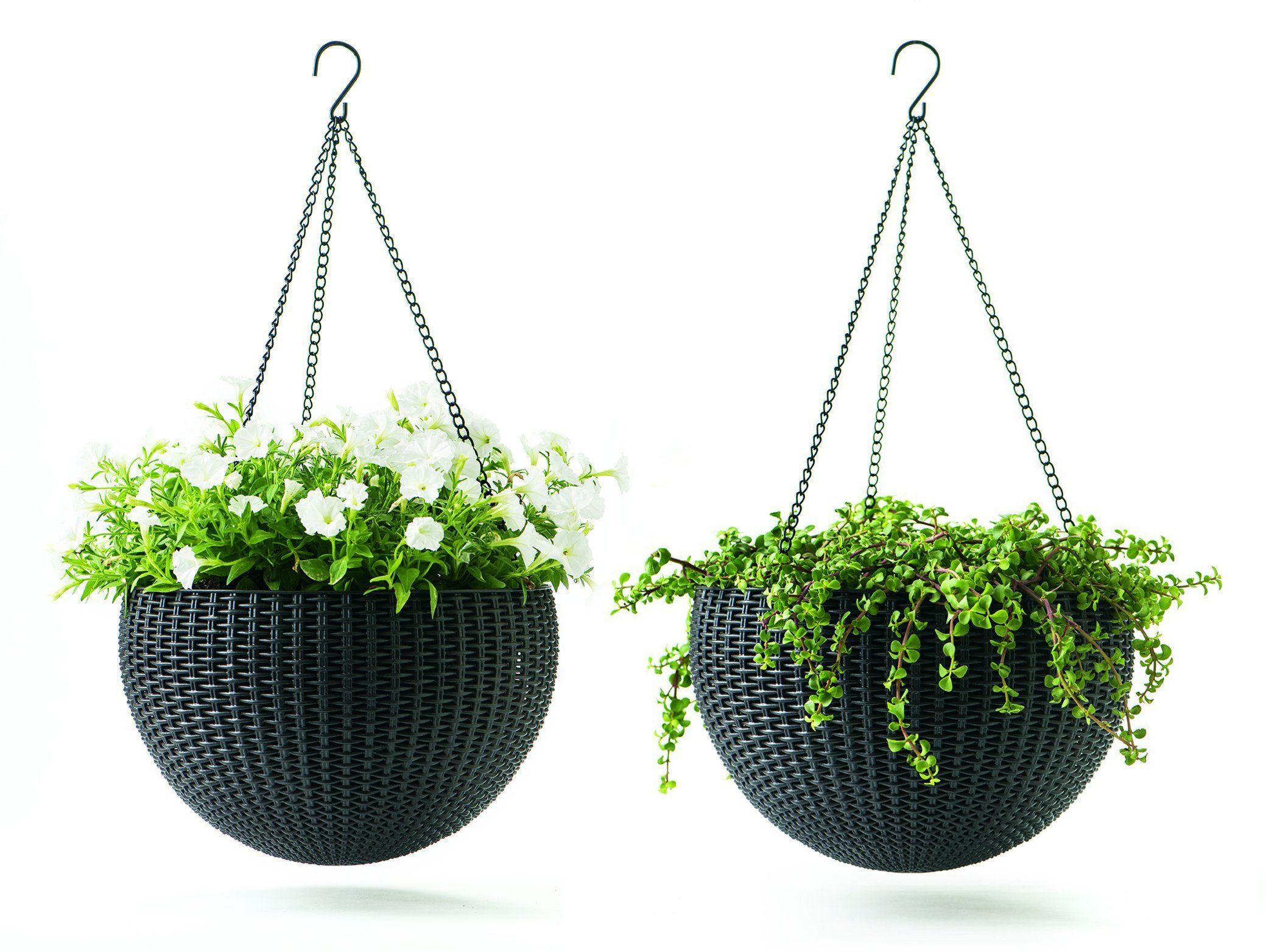 Keter hanging rattan planter 2 pack patio