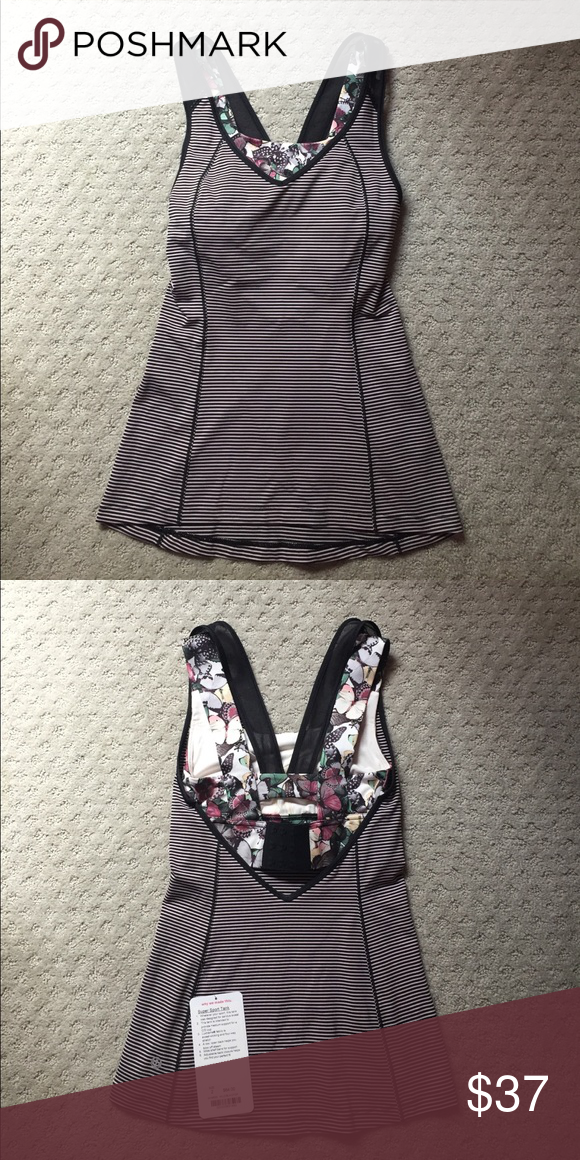 d380eaa19a Lululemon Super Sports Tank Cute pinkish black striped tank top with  attached butterfly sports bra. Never worn. No padding in sports bra.  lululemon ...