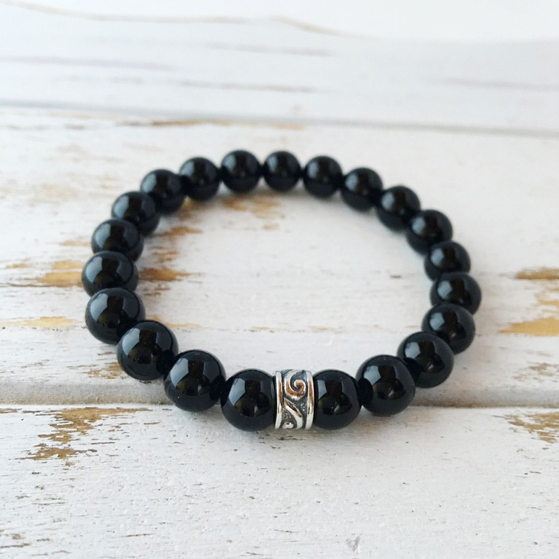 Genuine Black Onyx Bracelet w/ Sterling Silver Charm