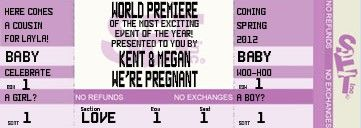 Movie Ticket Pregnancy Announcement available in lots of colors ...