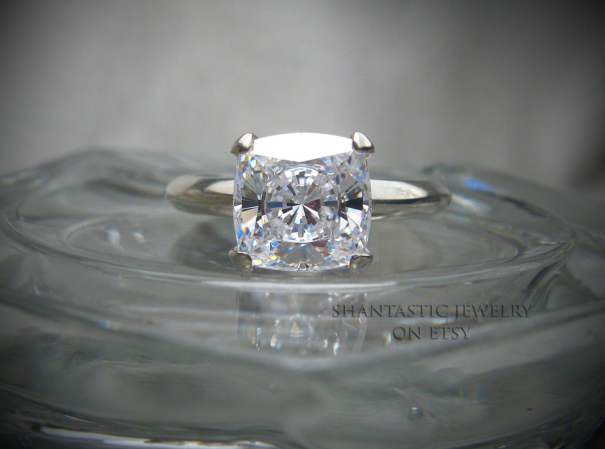 Cushion Cubic Zirconia CZ Engagement Ring 8mm (3 carats