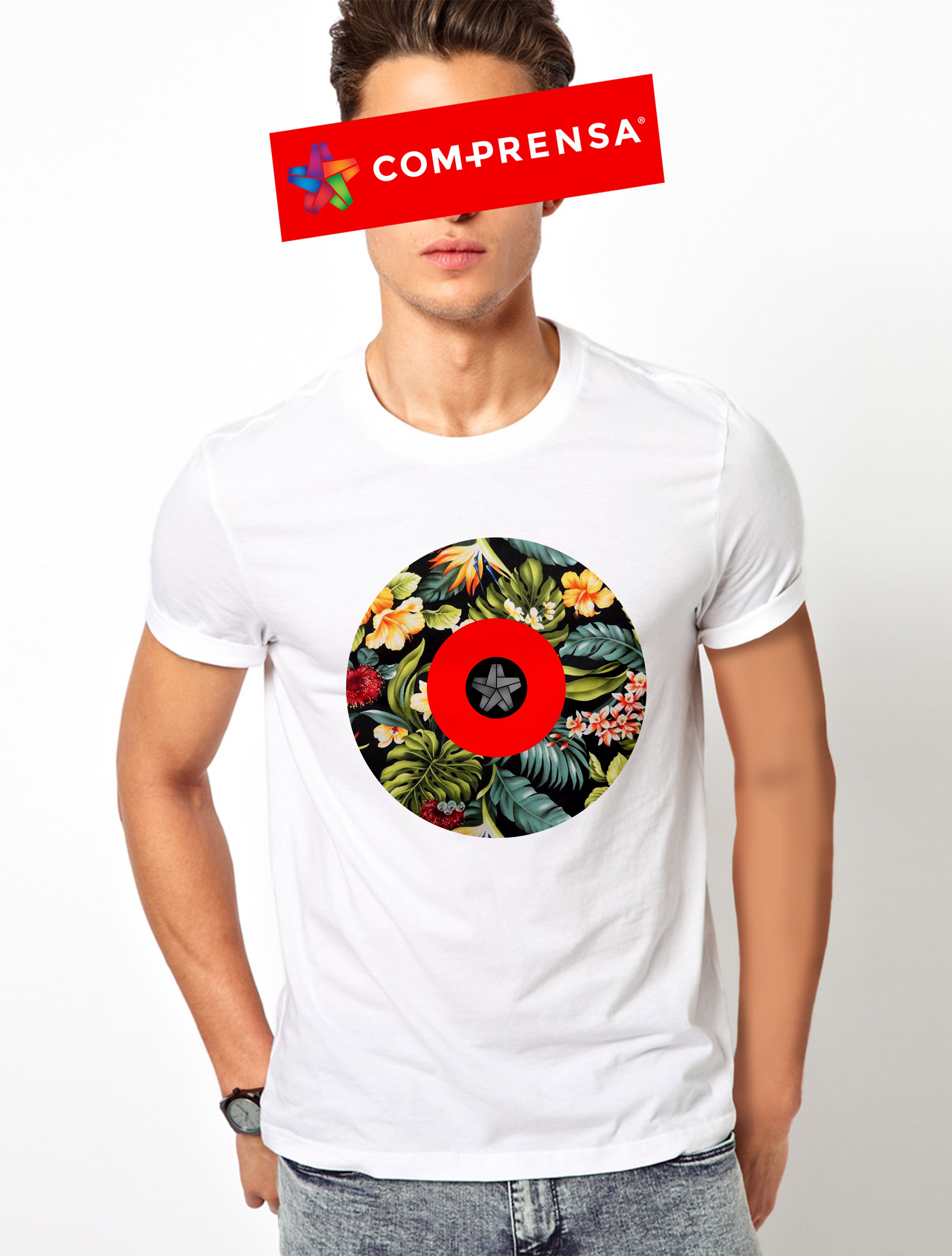 "White t shirt ""Jungle Flowers"" from Com-Prensa  #comprensa #model #fashion #manufacturer #design #company #textile #portugal #jersey #fleece #cotton #bio #sublimation #screenprinting #digitalprint #laser #photoprint"