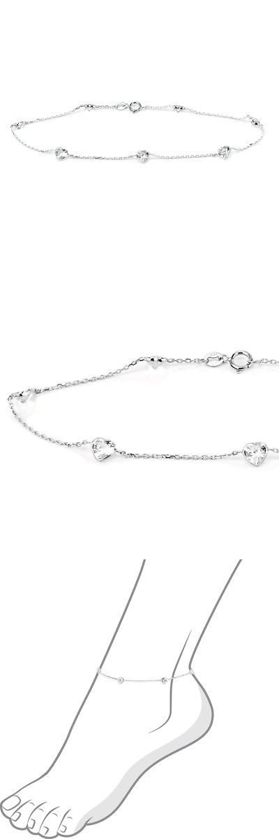 zirconia inches cubic with zirconias stones s gold bracelet itm white heart shaped anklet