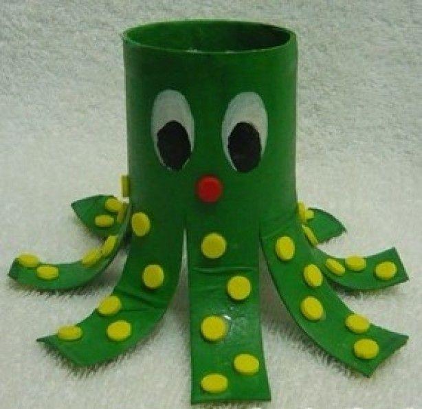 Octopus knutselen van wc rolletje knutsels spelen crafts playing pinterest wc - Toiletten versieren ...
