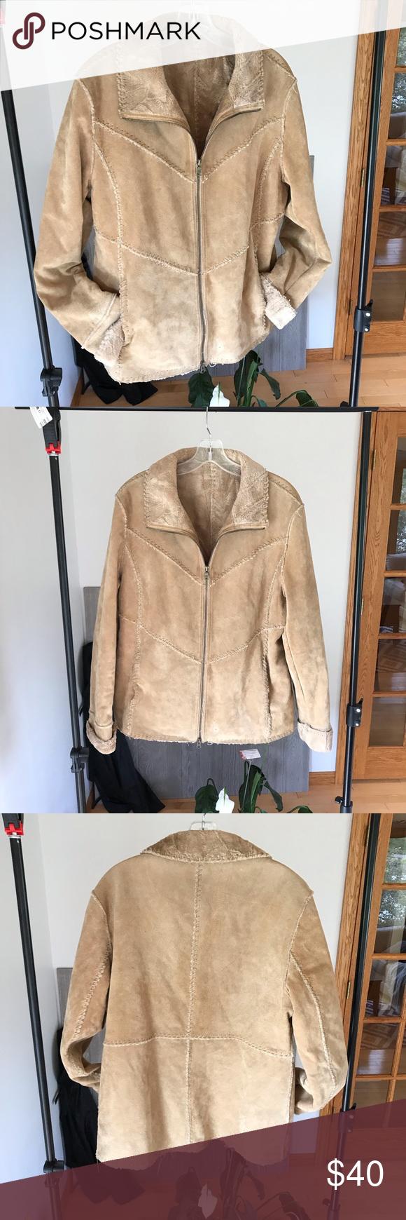 Massini Tan Leather (suede texture) jacket Textured