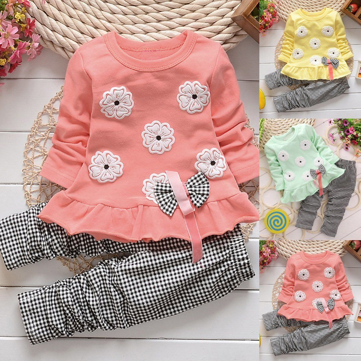042b21fe21d9 2PCS Toddler Kids Baby Girls Outfit Bowknot Dress T-shirt Tops+Pants ...