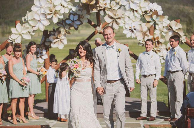 Via Green Wedding Shoes Paper Flower Arch Decor