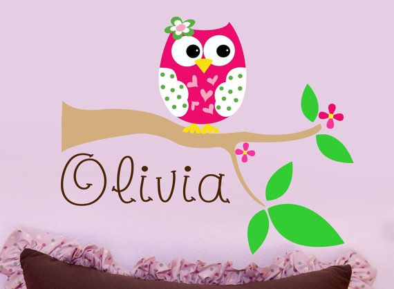 Owl Wall Decal Personalized Name Wall Decal Nursery Wall Decal - Personalized wall decals for nursery