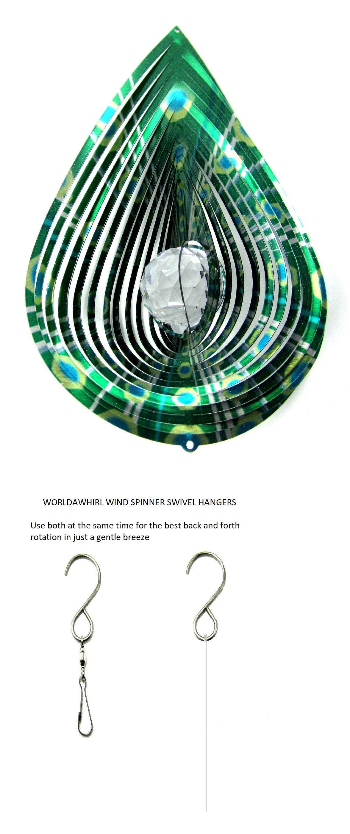 WorldaWhirl Whirligig 3D Cross Wind Spinner Hand Paint Stainless Kinetic Twister