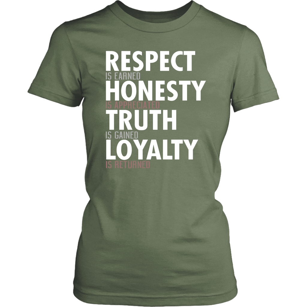 Respect Is Earned Honesty Is Appreciated Truth Is Gained