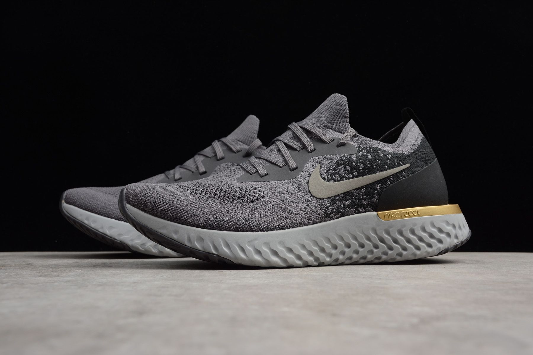 209d9b7747acc 2018 Nike Epic React Flyknit Grey Black-Gold Running Shoes
