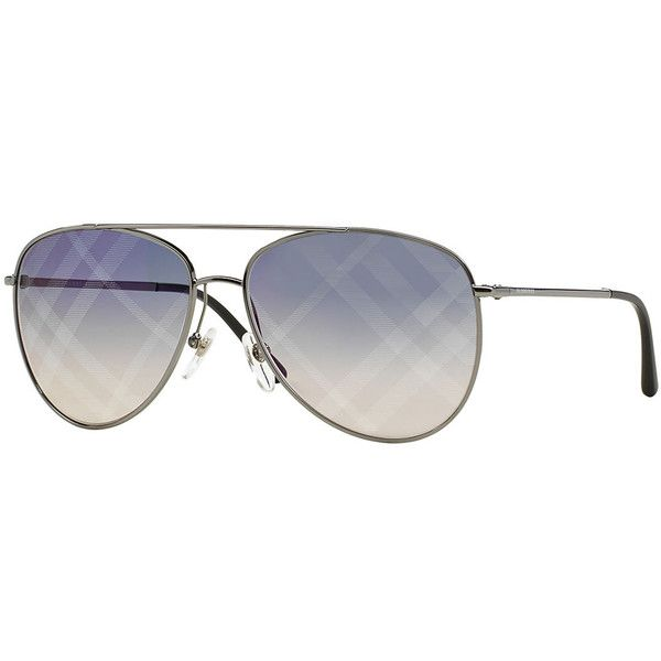 97557f5b4cf4 Burberry Check-Print Aviator Sunglasses ($275) ❤ liked on Polyvore  featuring accessories, eyewear, sunglasses, pewter, burberry, metal frame  glasses, ...