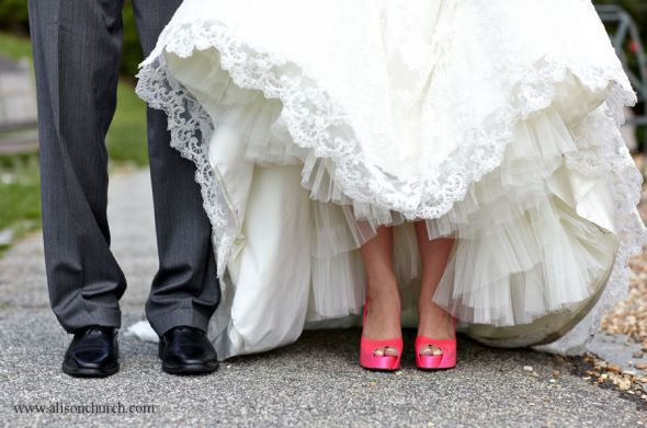 Hot Pink Wedding Shoes I Did This But They Were Puma Tennis