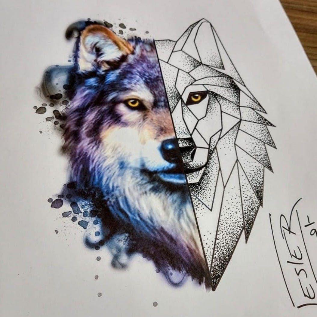 Kate Wolves Wolf Wolfpack Geometrictattoo Watercolour Watercolourtattoo Geometry Linework Geometric Wolf Tattoo Geometric Wolf Wolf Tattoos For Women