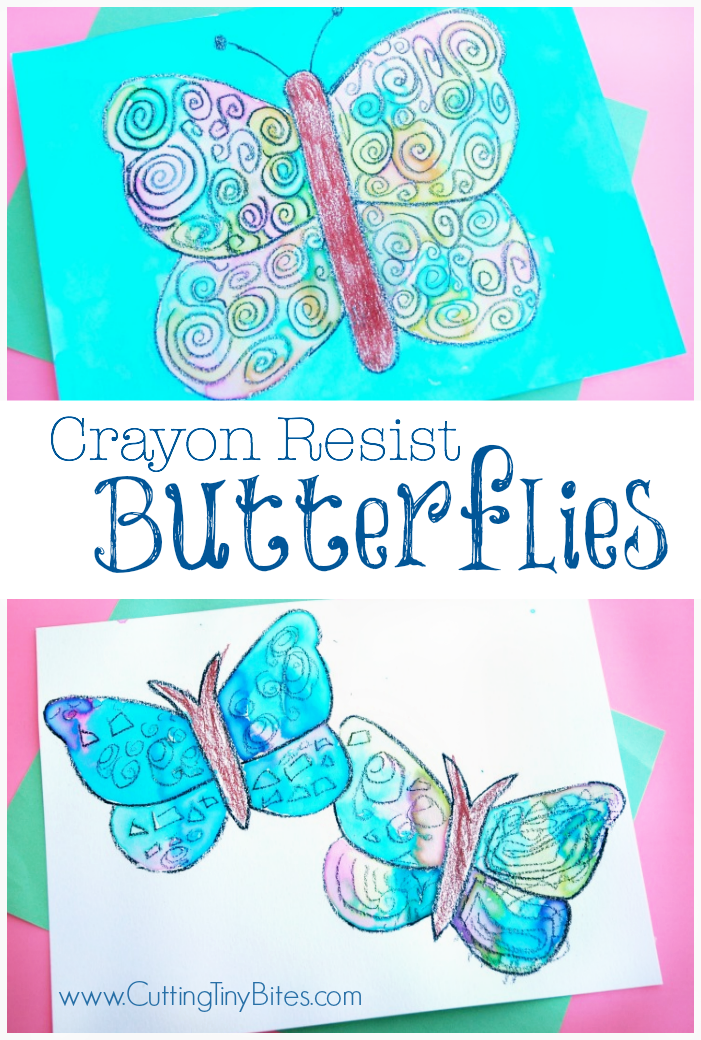 Crayon Resist Butterflies | Paper And Glue - Crafts | Butterfly