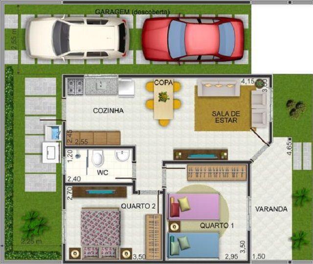 Plano de casa de 60 m2 planos casa en 2019 planos de for Casa minimalista 60m2