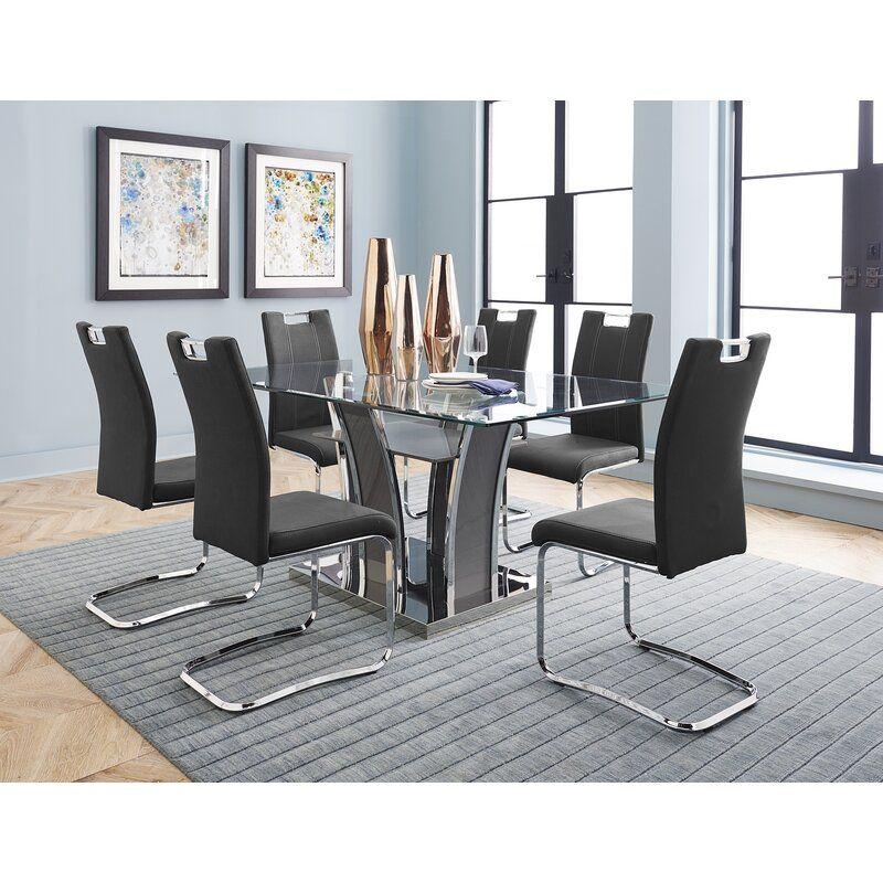 Latrell 7 Piece Dining Set In 2021 Modern Dining Room Set Modern Glass Dining Table Glass Dining Table