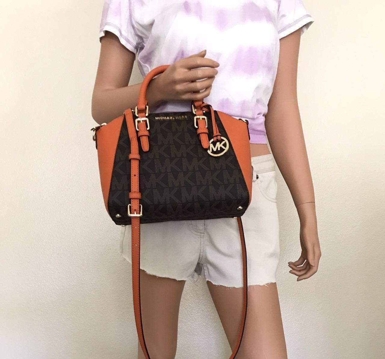 4e8f127f485d NWT Michael Kors Small Brown Leather Ciara Messenger Satchel Crossbody Bag   144.98