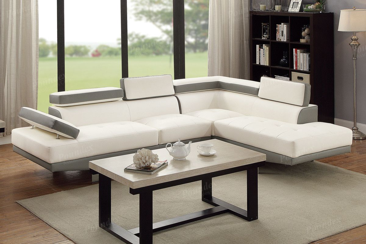OCFurniture Poundex F7580 White Gray Faux Leather Sectional Sofa