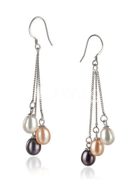 Merveilleux S925 AAA 7-8 mm noir ovale boucles d'oreilles en perles d'eau douce pour les dames