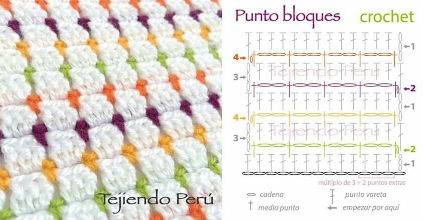 Punto bloques. | Ganchillo | Pinterest | Croché, Ganchillo y Punto