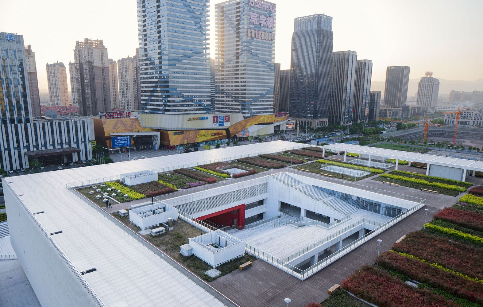 Gallery Of Yiwu Cultural Square Uad 4 Architecture Solar Hot Water System Solar Water Heating