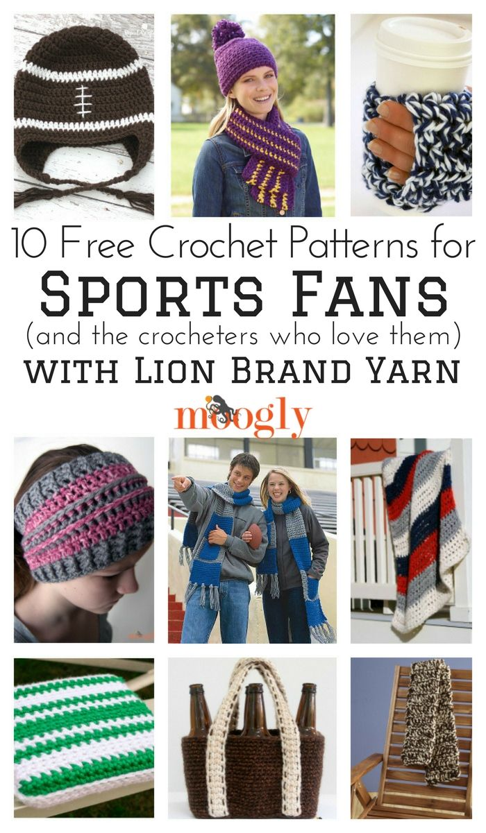 10 Free Crochet Patterns for Sports Fans made with Lion Brand Yarn ...