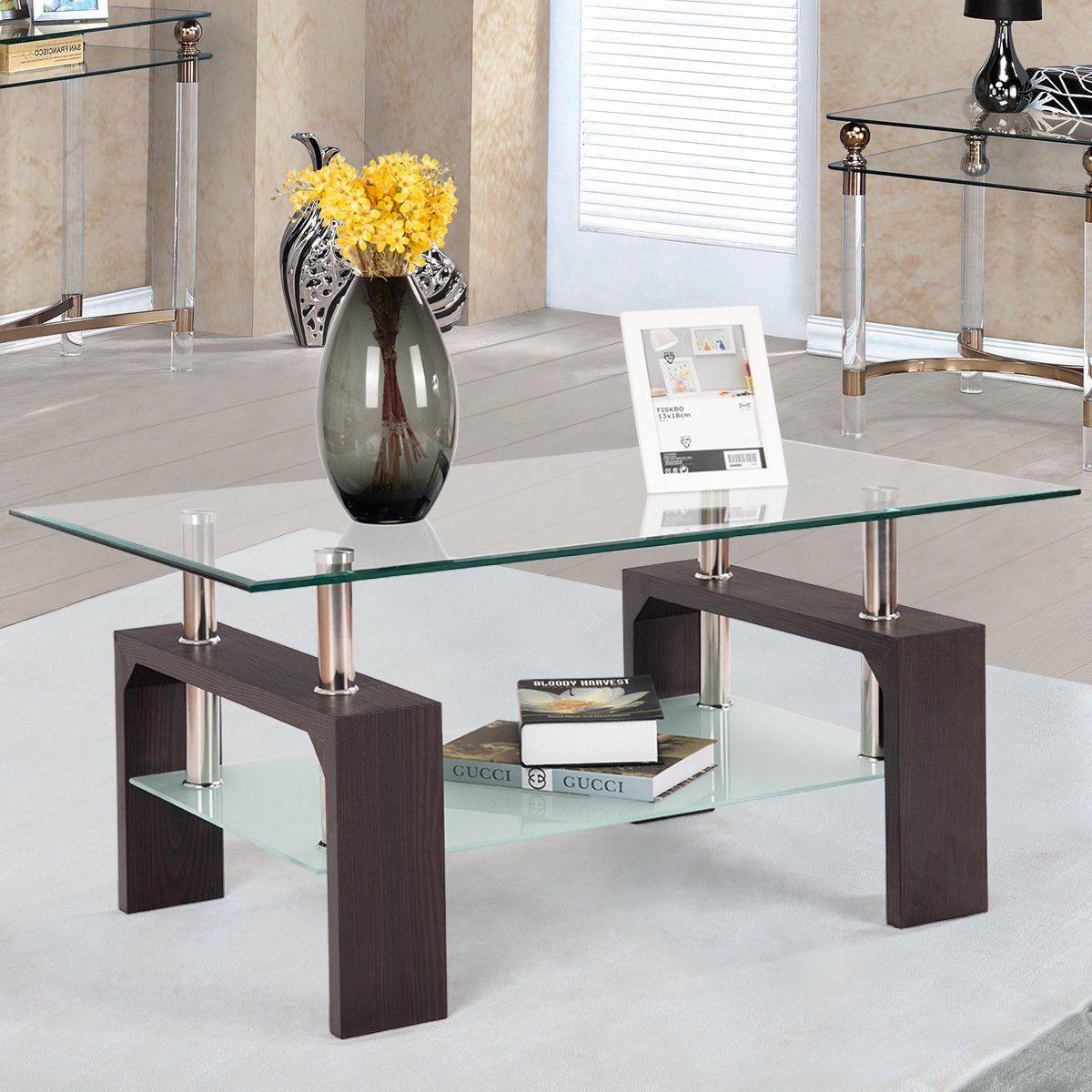 Costway Rectangular Tempered Glass Coffee Table W Shelf Wood Living Room Furniture Walmart Com In 2021 Coffee Table Living Room Wood Wood Furniture Living Room [ 1200 x 1200 Pixel ]