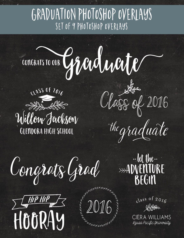 Graduation Photoshop Overlays - Graduation Announcement - Class of ...