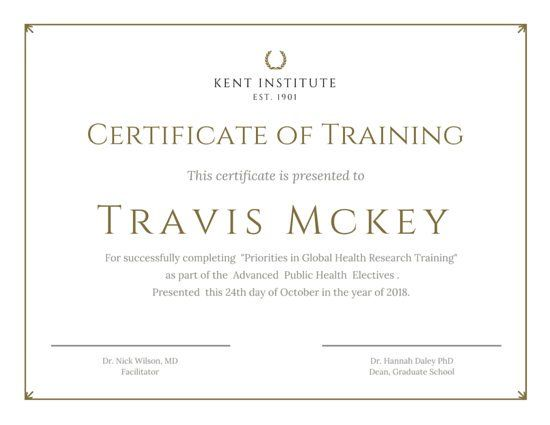 Classic Gold Training Certificate  Branded Graphic Content