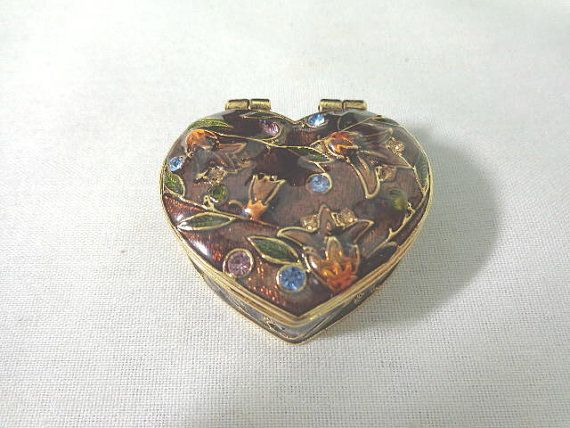 Vintage Monet Enamel Heart Trinket Box 1 34 Inches Monet Box and