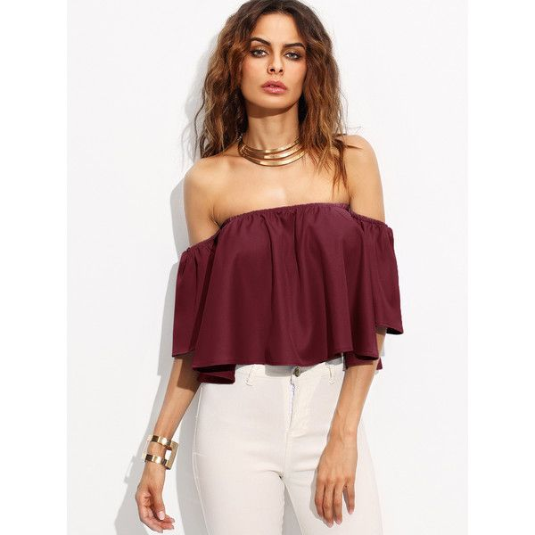 Burgundy Shirred Off The Shoulder Top (€17) ❤ liked on Polyvore featuring tops, crop tops, burgundy top, burgundy crop top, off-the-shoulder ruffle tops, flounce crop top and ruffle top