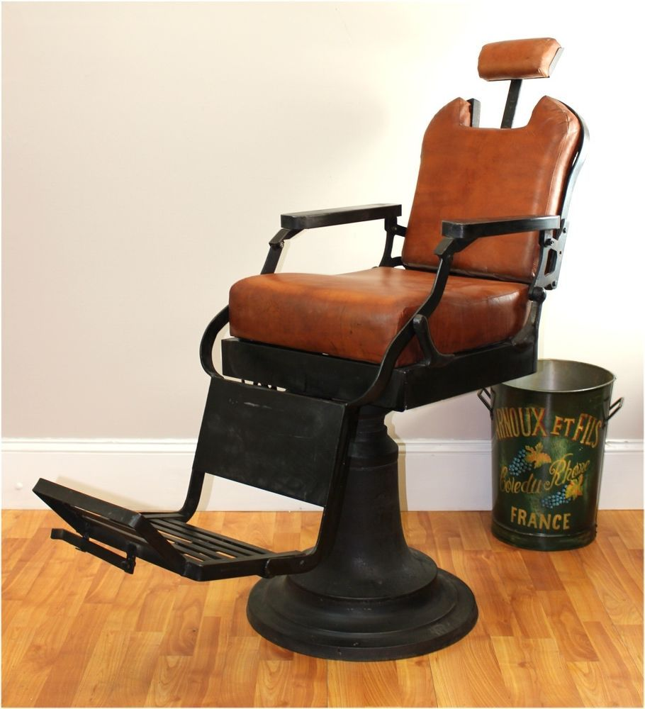 Barber Chair With Leather Seat Cushions Cast Iron Base