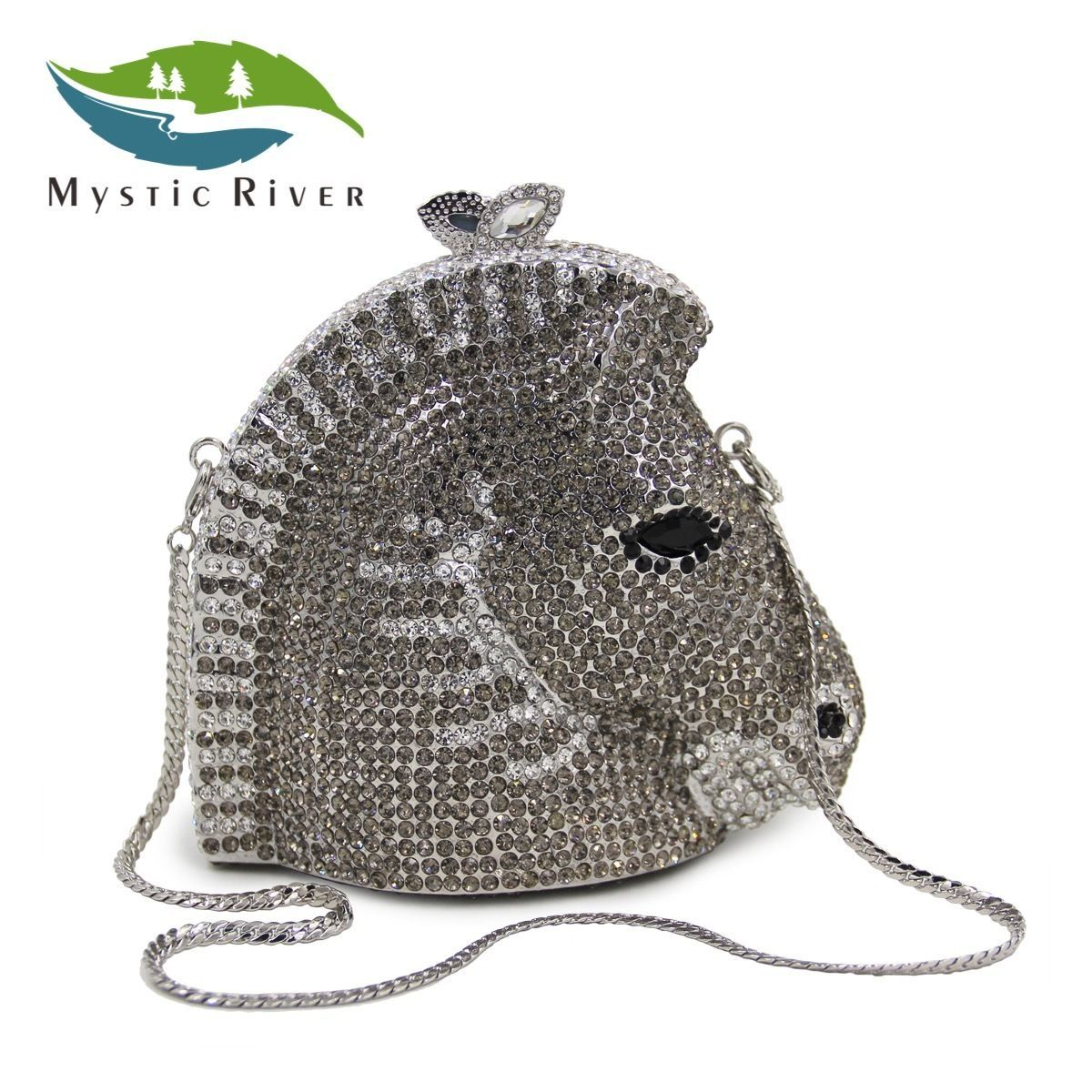 Mystic River Women Evening Clutch Bags Crystal Stone Horse Shape