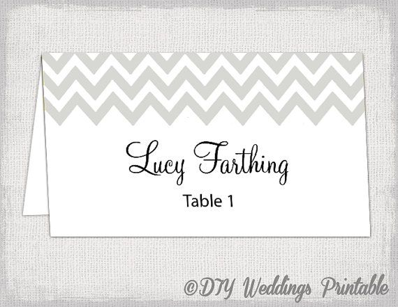 Silver Place Card Template Quot Chevron Quot Name Cards Diy Wedding Printable Silver Gray Place Cards Wedding Name Cards Place Card Template Card Template