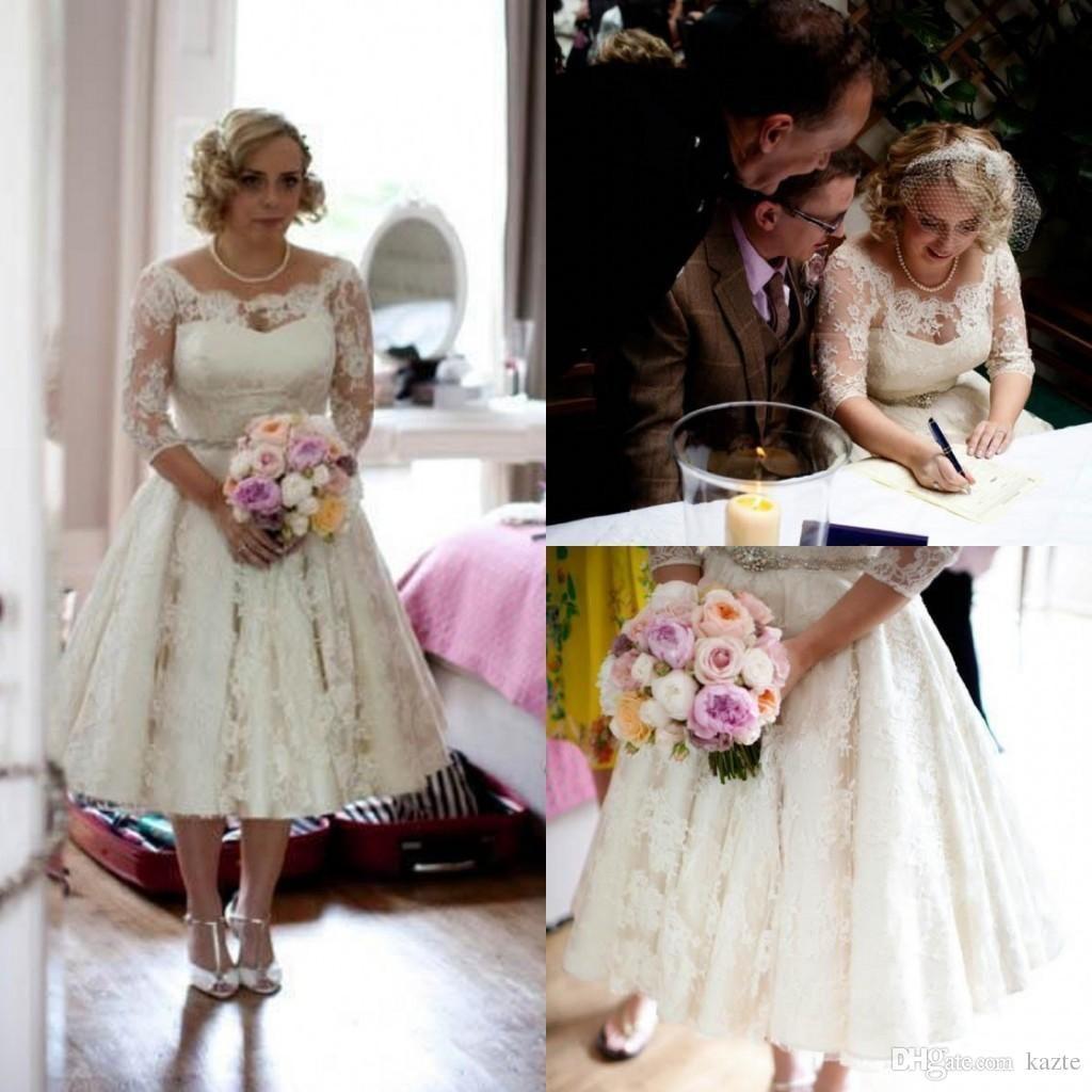 Plus size lace wedding dresses scoop illusion half long sleeve