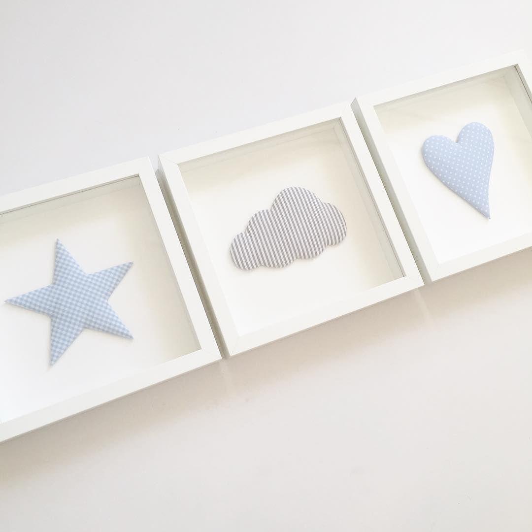 stoffbilder stern wolke und herz... #norabellahome #stoffbild ... - Kinderzimmer Deko Sterne