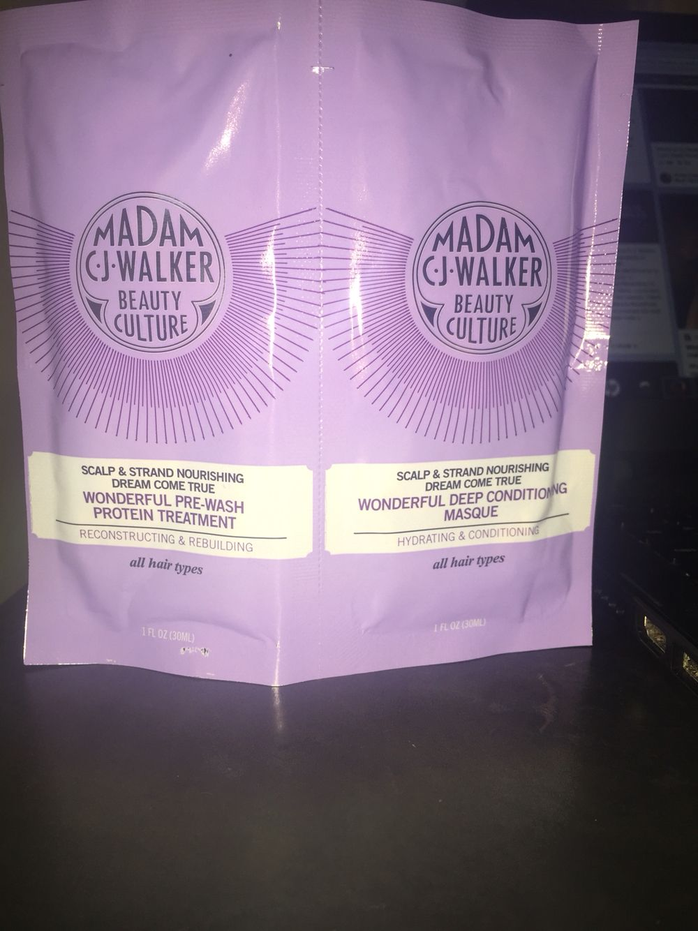 Madam C.J. Walker Beauty Culture Dream Come True Wonderful Pre- wash Protein Treatment and Deep conditioning masque all provided by @Influencer for testing purposes.  #BonitaVoxBox #MCJWBeautyCulture
