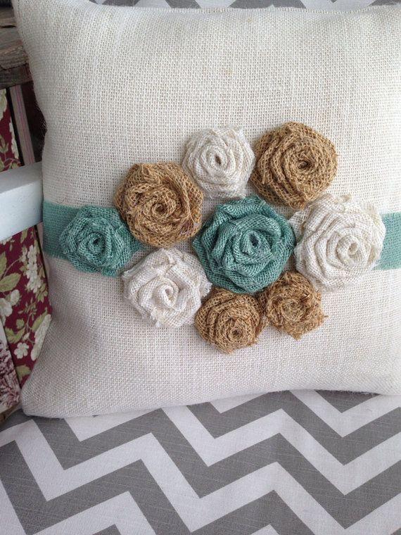 Burlap flower pillow by thelittlegreenbean on Etsy