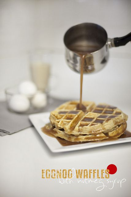 eggnog waffles with nutmeg syrup by Tabitha Blue / Fresh Mommy, via Flickr