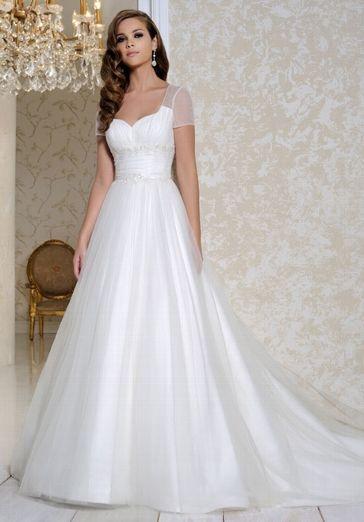 Weißes romantisches Hochzeitskleid im Ballkleid-Stil aus Satin und ...