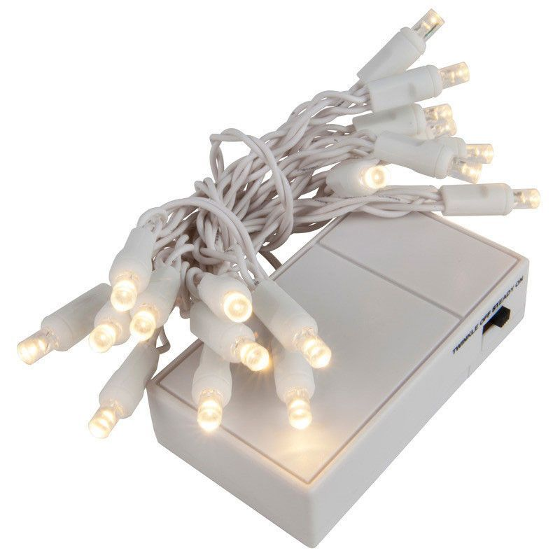 20 Warm White 5mm LED Battery Operated Lights with White Wire ...